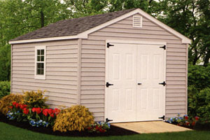 Shed installed in backyard