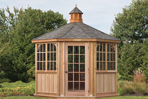 wooden gazebo with enclosed windows and doors