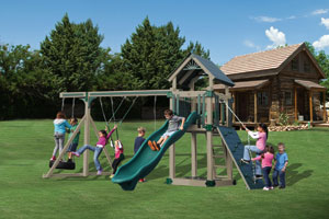 Swing Set with slides for backyard playground