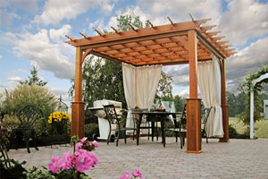 wood pergola covering outdoor furniture