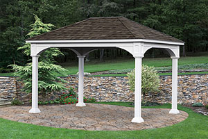 wood pavilion built over paver patio